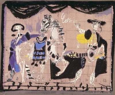 Curtain design for Carmen; Antoni Clavé; French, born Spain, 1913-2005; TL2002.49.1