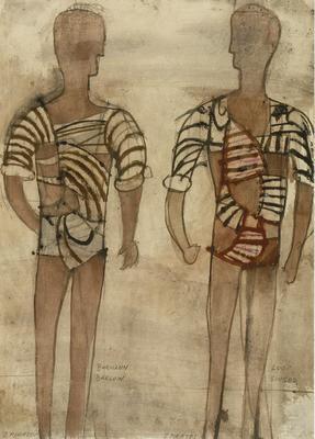 Costume designs for Two Pirates: Burmann Barlow and Loof Singer in Daphnis and Chloe; Nicholas Georgiadis; British, born Greece, 1923-2001; TL2002.83