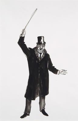 Costume design for Physician, Act I, scene 1, in Lulu; Jocelyn Herbert; British, 1917-2003; TL2002.104.21