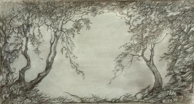 Backdrop design for Acts II and IV in Swan Lake