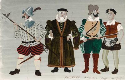 Costume designs for Chorus, Act II, scene 2, in Falstaff; Osbert Lancaster; British, 1908-1986; TL2002.145.2