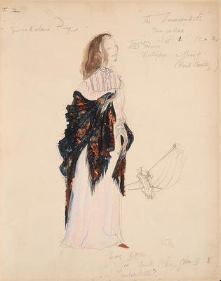 Costume design for Marceline, Act I, scene 2, in The Immoralist; Motley Theatre Design Group; TL2002.184