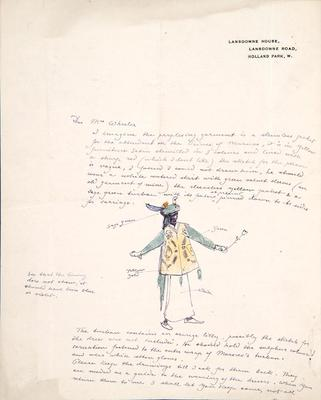 Letter with costume design for attendant to the Prince of Morocco; Charles Ricketts; British, 1866-1931; TL2002.225.6