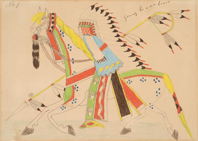 Preparing for a War Expedition - Calling for Volunteers from Sketchbook; Silver Horn; Native American, Kiowa, 1860-1940; 1962.1.1
