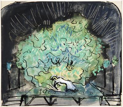 Scene design storyboard for A Midsummer Night's Dream; Otakar Schindler; Czech, 1923-1998; TL2002.229.5