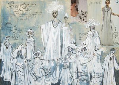 Costume designs for Theseus and Hippolyta in A Midsummer Night's Dream; Otakar Schindler; Czech, 1923-1998; TL2002.229.3