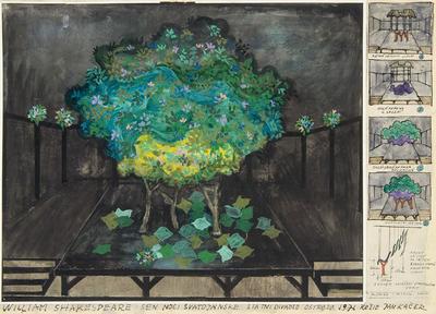 Scene design and thumbnail sketches for the woods in A Midsummer Night's Dream; Otakar Schindler; Czech, 1923-1998; TL2002.229.7