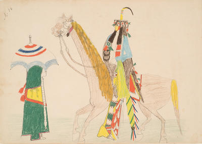 Kiowa Dude Paying His Respects to a Young Kiowa Belle from Sketchbook; Silver Horn; Native American, Kiowa, 1860-1940; 1962.1.16