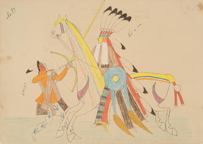 Osage and Kiowa in Deadly Conflict from Sketchbook; Silver Horn; Native American, Kiowa, 1860-1940; 1962.1.17