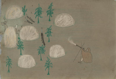 A Hunter - The White Objects are Boulders from Sketchbook; Silver Horn; Native American, Kiowa, 1860-1940; 1962.1.18