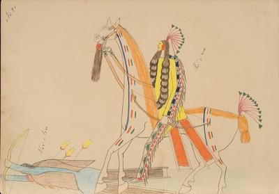 Kiowa Kills a Navajo from Sketchbook; Silver Horn; Native American, Kiowa, 1860-1940; 1962.1.20