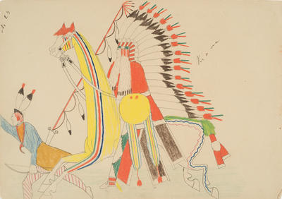 Kiowa Lancing an Osage from Sketchbook; Silver Horn; Native American, Kiowa, 1860-1940; 1962.1.23
