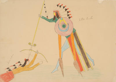Kiowa Chief Little Robe Lancing a Navajo from Sketchbook; Silver Horn; Native American, Kiowa, 1860-1940; 1962.1.24