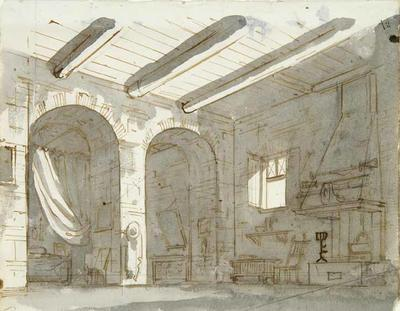 View of interior with fireplace; Gaspare Galliari; Italian, 1761-1823; TL2004.58