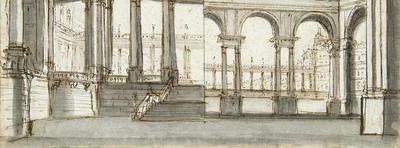 View of Castle Interior; Gaspare Galliari; Italian, 1761-1823; TL2004.61.5