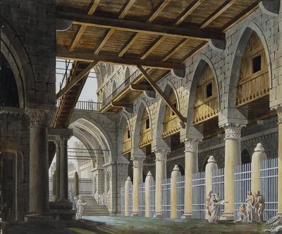 Scene design for a Sepulchre; Gaspare Galliari; Italian, 1761-1823; TL2004.62.1