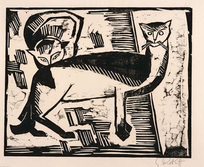 Katzen (Cats) from Zehn Holzschnitte von Schmidt-Rottluff (Ten Woodcuts by Schmidt-Rottluff)