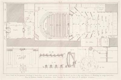 Ground Plan of the Schouwburg Theatre before the fire of May 11, 1772 and diagrams of stage machinery
