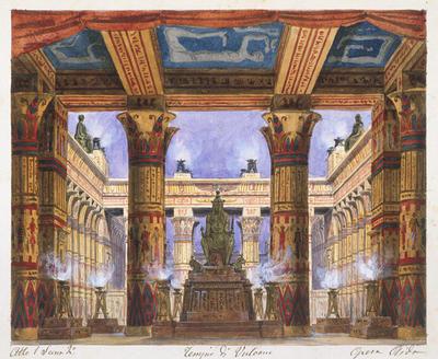 Scene design for Act I, scene 2, Tempio Vulcano in Aida