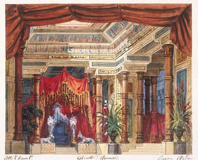 Scene design for Act II, scene 1, Cabinetti Amnesis in Aida