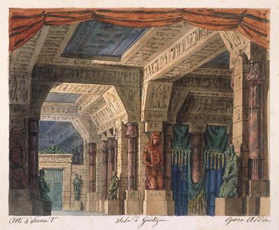 Scene design for Act IV, scene 1, Sala di Guistizia in Aida
