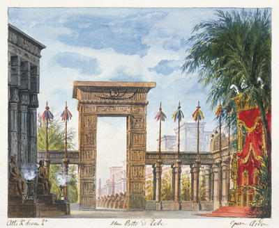 Scene design for Gate of Thebes, Act II, scene 2, in Aida