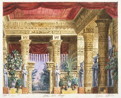 Scene design for Act I, scene 1 in Aida