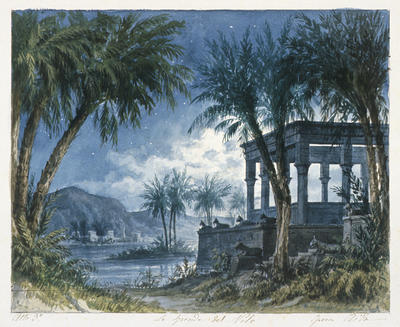 Scene design for Nile, Act III, in Aida