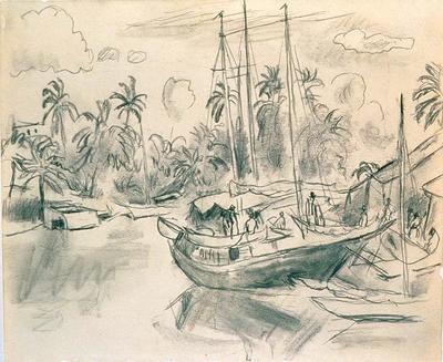 Wharfside (At Anchor) from Caribbean Sketchbook; Jules Pascin; American, born Bulgaria, 1885-1930; 1950.160