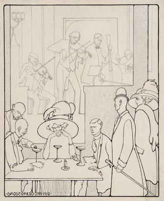 In the Restaurant; George Grosz; American, born Germany, 1893-1959; 1967.17