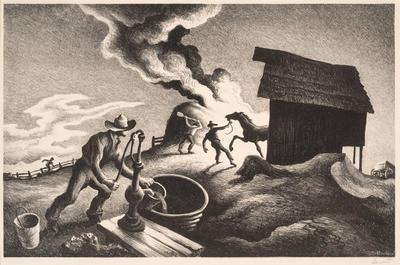 Fire in the Barnyard; Thomas Hart Benton; American, 1889-1975; 1969.10
