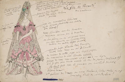Costume design for the Beautiful Fairy in La Belle au Bois Dormant (The Sleeping Princess)