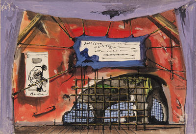 Scene design for Old Bailey Jail, Acts II and III, in L'Opera des quat'sous (The Threepenny Opera)