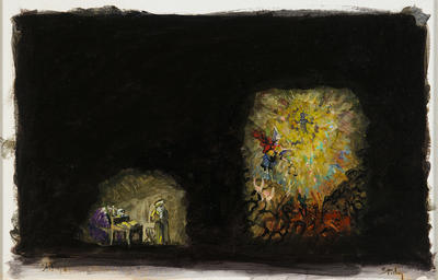 Scene design for Faust's studio with vision of Marguerite, Act I, scene 1, in Faust; Earl Staley; American, born 1938; TL2010.33.3