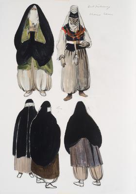 Costume designs for female chorus in Die Entführung aus dem Serail (The Abduction from the Seraglio)