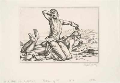Two Boys on a Beach No. 1; Paul Cadmus; American, 1904-1999; 2012.38