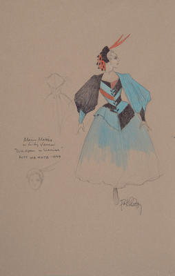 """Costume design for Lilli Vanessi in """"We Open in Venice,"""" Act I, in Kiss Me, Kate"""