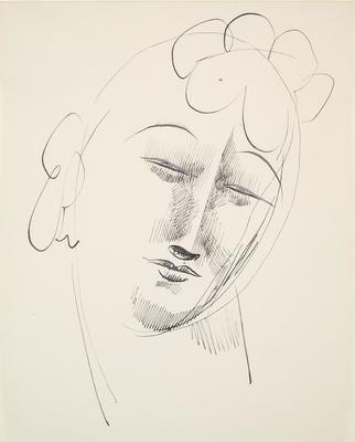 Head of a Woman with Curls; Elie Nadelman; American, born Poland, 1882-1946; 2014.99