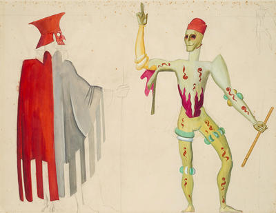 Costume designs for a gentleman and death