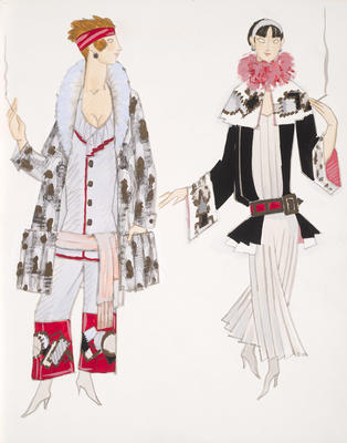 Costume designs for Betty Brown and another character in Telephone Girlie, Act III, in No, No, Nanette