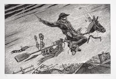 Montando a la Escoba Voladora (Riding the Flying Broom); Juan de Dios Mora; American, born 1984; 2016.103