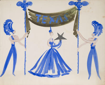 "Design for ""Texas"" in Billy Rose's Aquacade; Raoul Pène Du Bois; American, 1912-1985; 2017.29"
