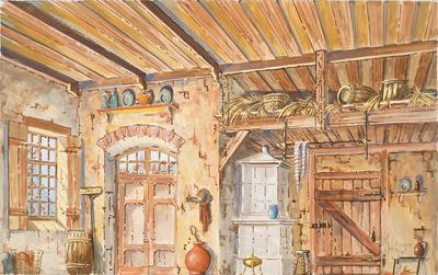 Scene design for kitchen, Act III, in La Fille Mal Gardée (The Wayward Daughter); John Rothgeb; American, 1928-1986; 2017.30