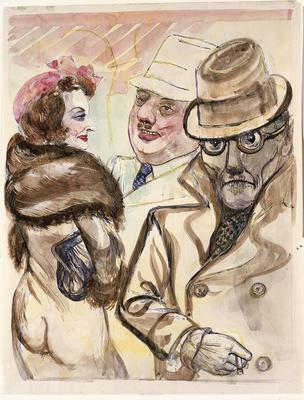 Encounter in the Street; George Grosz; American, born Germany, 1893-1959; 1974.50