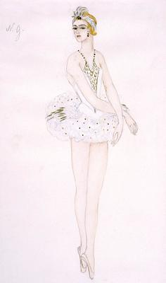 Costume design for Odette in Swan Lake