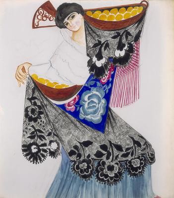 Costume design for a Spanish dancer with oranges