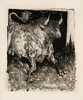 Le Toro Espagnol (Spanish Bull) from Eaux-Fortes Originales pour Textes de Buffon; Pablo Picasso; Spanish, 1881-1973; Georges L.L. de Buffon; French, 1707-1788; 1977.19.4