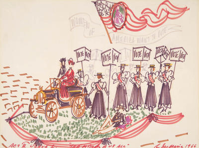 Scene design for Women of America Want to Vote, Act II, scene 2, in The Mother of Us All
