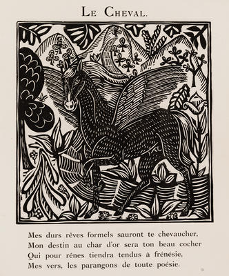 Le Cheval (Horse) from Le Bestiaire ou Cortège d'Orphée; Raoul Dufy; French, 1877-1953; Guillaume Apollinaire; French, 1880-1918; 1980.7.3