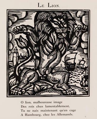 Le Lion from Le Bestiaire ou Cortège d'Orphée; Raoul Dufy; French, 1877-1953; Guillaume Apollinaire; French, 1880-1918; 1980.7.7